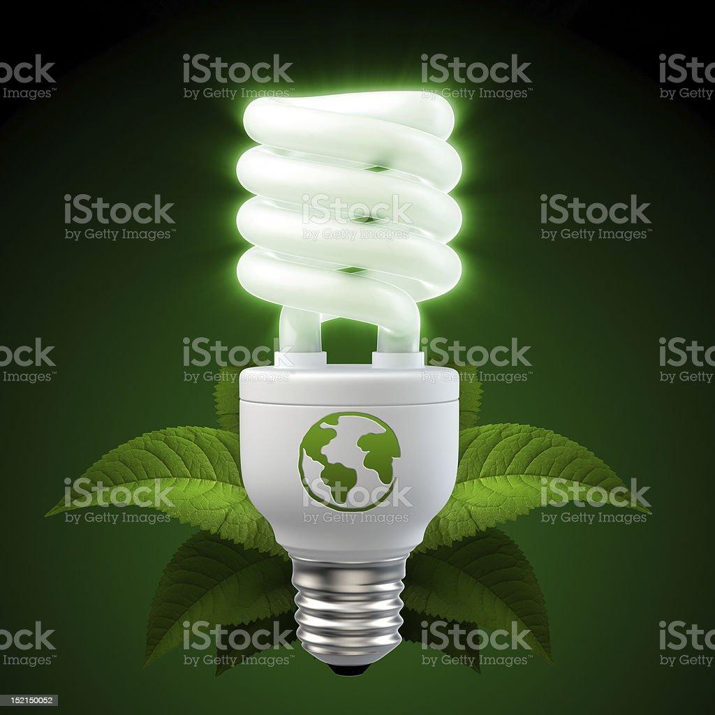 glowing white energy saving light bulb stock photo