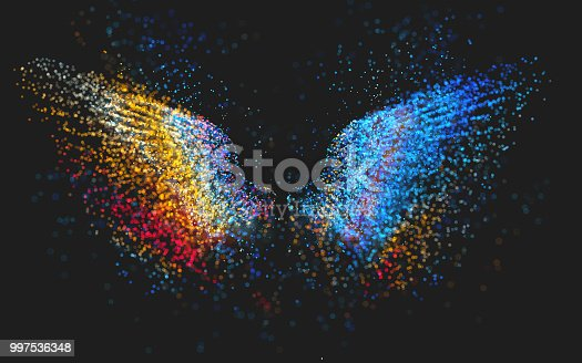 Abstract multi colored particles in the shape of wings on a dark background