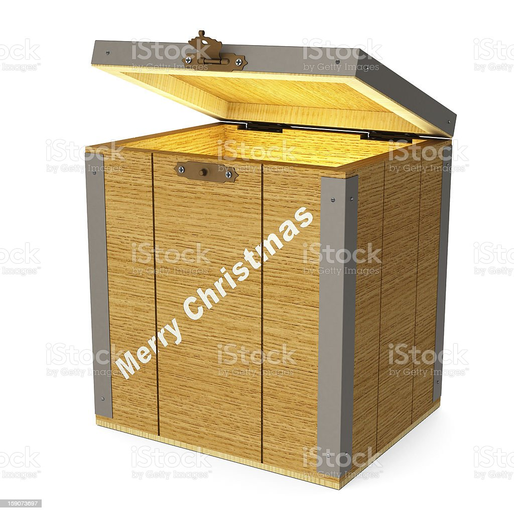 Glowing wooden box royalty-free stock photo