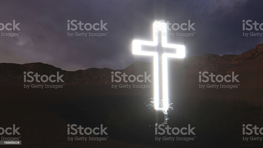 glowing wooden cross royalty-free stock photo