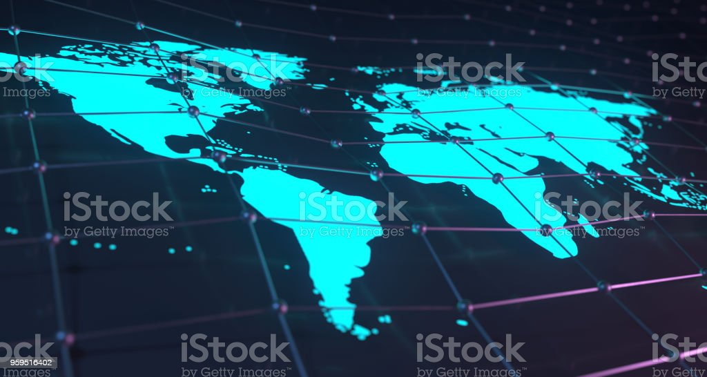 Glowing World Map On Plexus Background With Reflection.3D Rendering stock photo