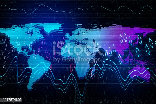 1177116437 istock photo Glowing world map with business interface and stock chart. 1217874605