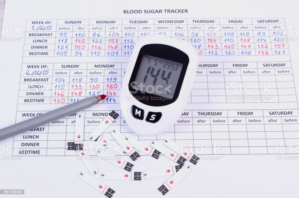 Glucometer and pen on medical form, concept of measuring and checking sugar level stock photo