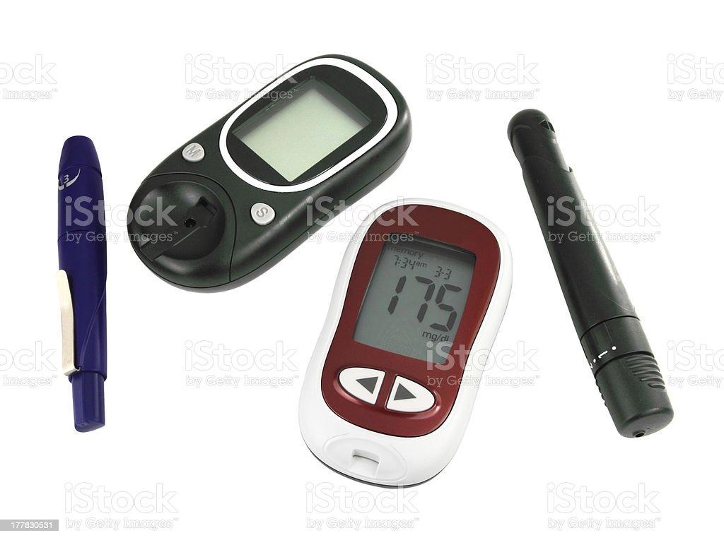 Glucometer for checking blood sugar levels on white royalty-free stock photo