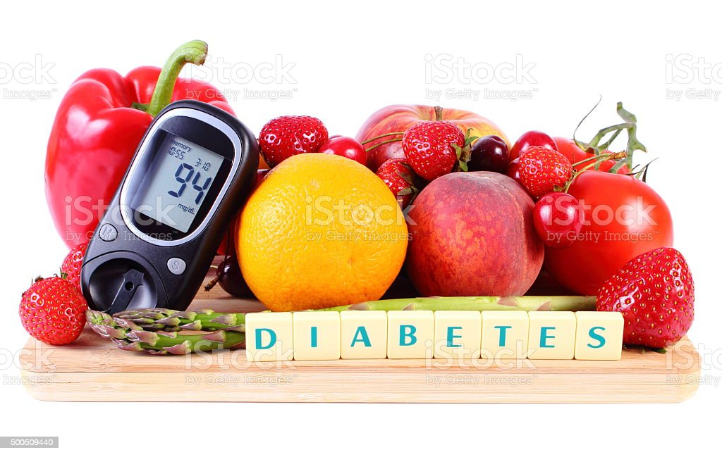 Glucometer with fruits and vegetables, healthy nutrition, diabetes stock photo
