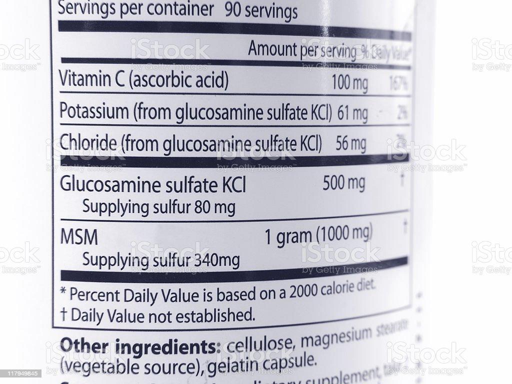 Glucosamine & MSM labeling stock photo