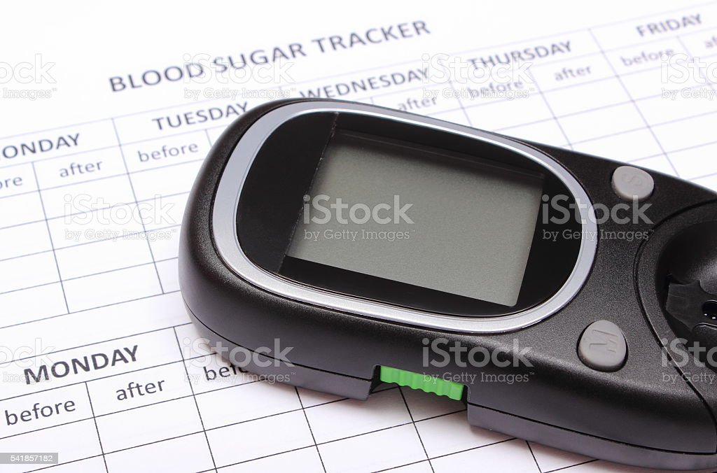 Glucose meter on empty medical forms for diabetes stock photo