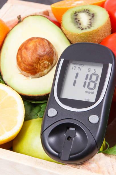 Glukosemessgerät mit frischem Obst und Gemüse. Gesunde Ernährung und Kontrolle des Zuckerstandskonzepts – Foto