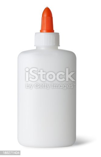 This is a photo of white craft glue isolated on a white background with a drop shadow.Click on the links below to view lightboxes.