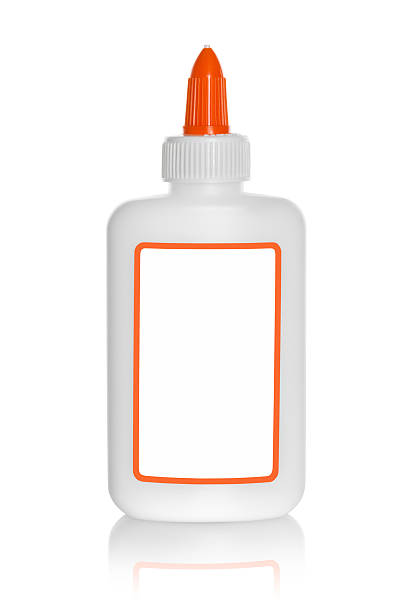 Glue Bottle with blank label Glue Bottle with blank label with blank label. Single bottle isolated on white background. affix stock pictures, royalty-free photos & images