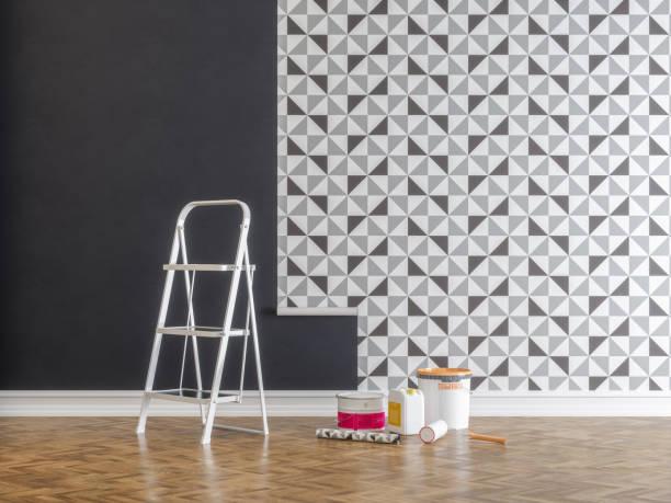 Kleben Tapeten für Wohnung während der Renovierung – Foto