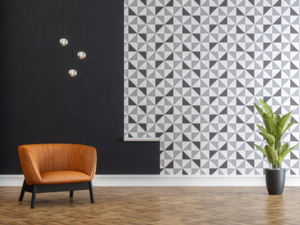 Glueing Wallpapers with Armchair Glueing Wallpapers with Armchair wallpaper decor stock pictures, royalty-free photos & images