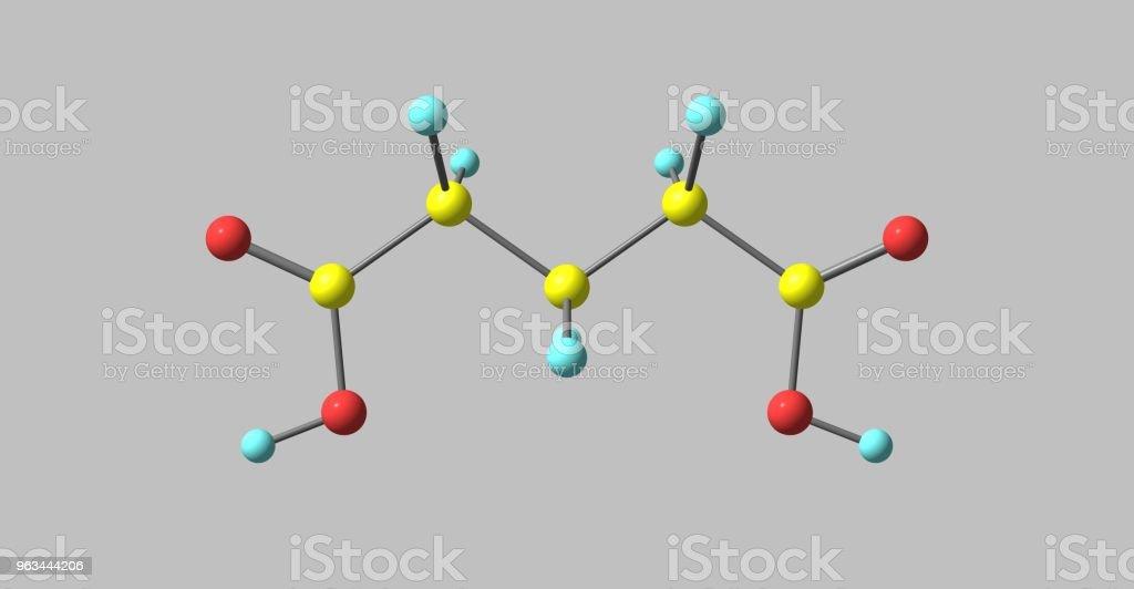 Glutaric sura molekylstrukturen isolerad på grå - Royaltyfri Biokemi Bildbanksbilder