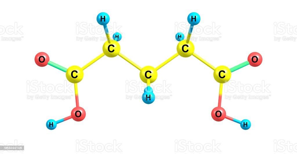 Glutaric acid molecular structure isolated on white - Zbiór zdjęć royalty-free (Badania)