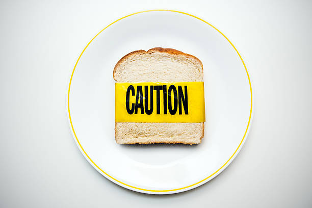 gluten and wheat allergy caution - food allergies stock photos and pictures