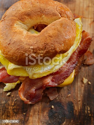 Gluten Free Bagel, Breakfast Sandwich with Bacon, Eggs and Cheese