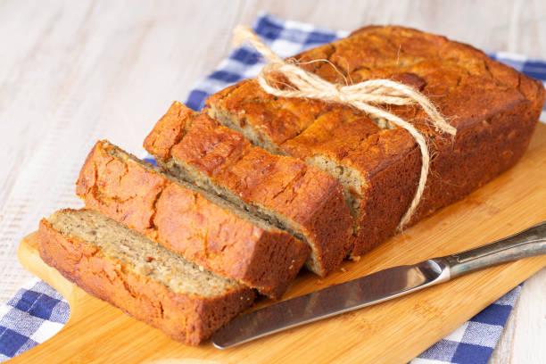 Gluten Free Banana Bread Breakfast With Knife stock photo
