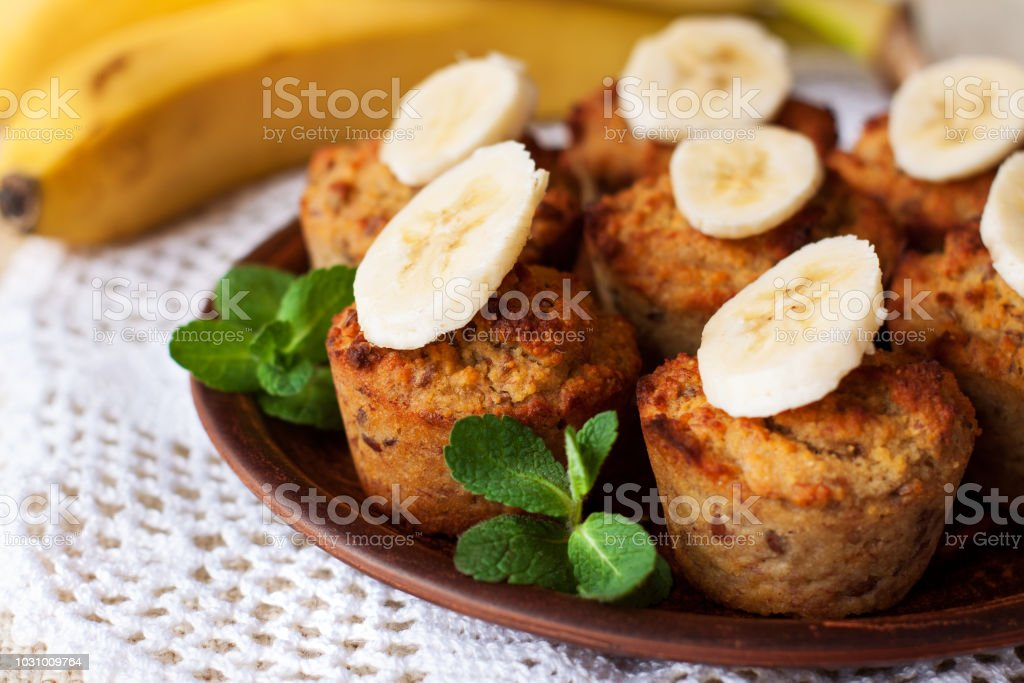 Gluten free banana bread muffins stock photo