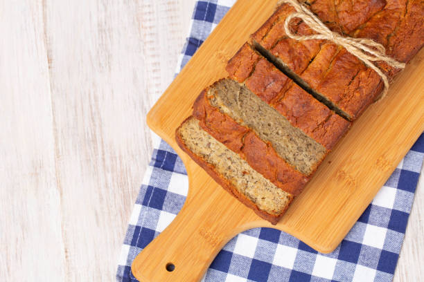 Gluten Free Banana Bread Tied With Rustic Bow stock photo
