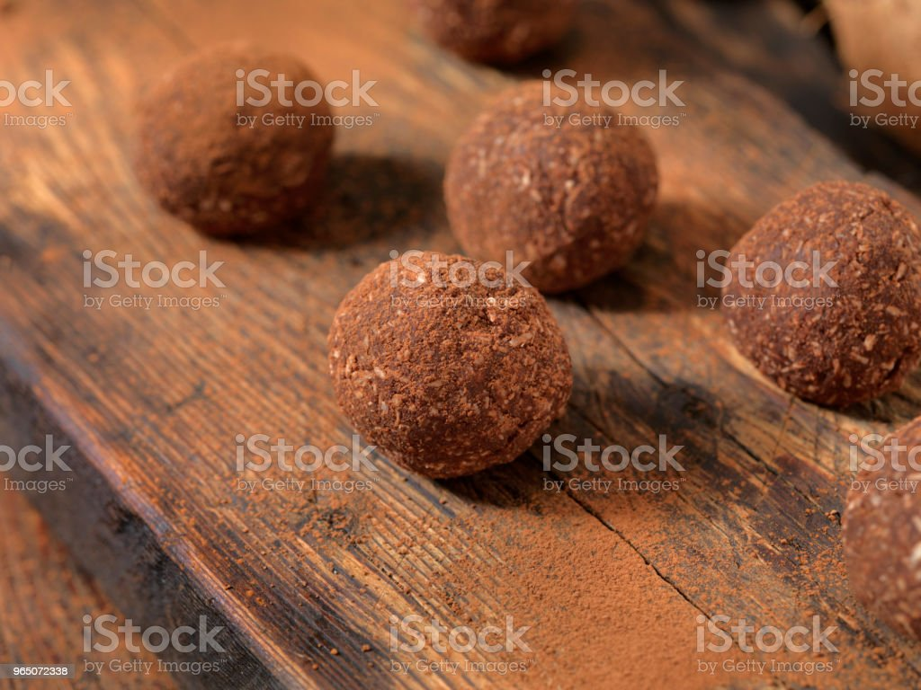 Gluten Free, Cocoa and Coconut Energy Bites royalty-free stock photo