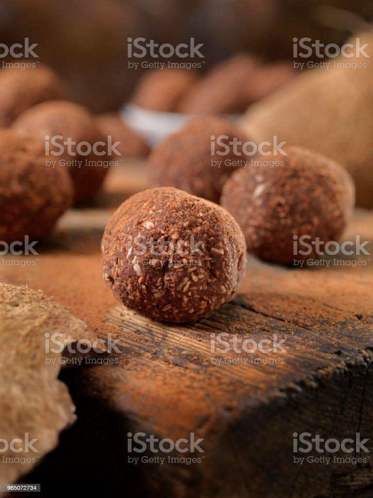 Gluten Free, Cocoa and Coconut Energy Bites zbiór zdjęć royalty-free
