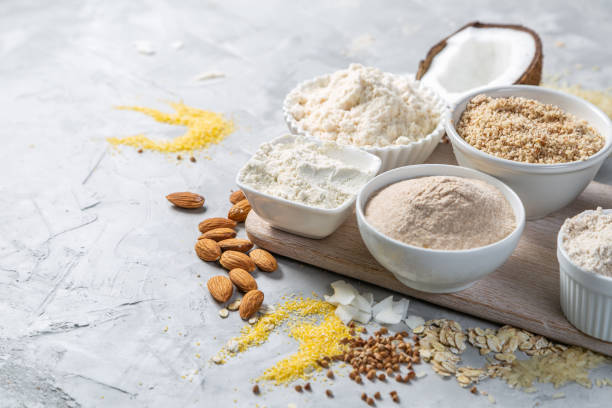 Gluten free concept - selection of alternative flours and ingredients