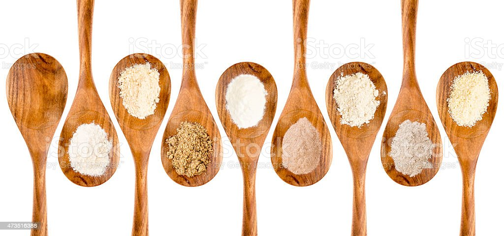 gluten free flour spoon collection stock photo