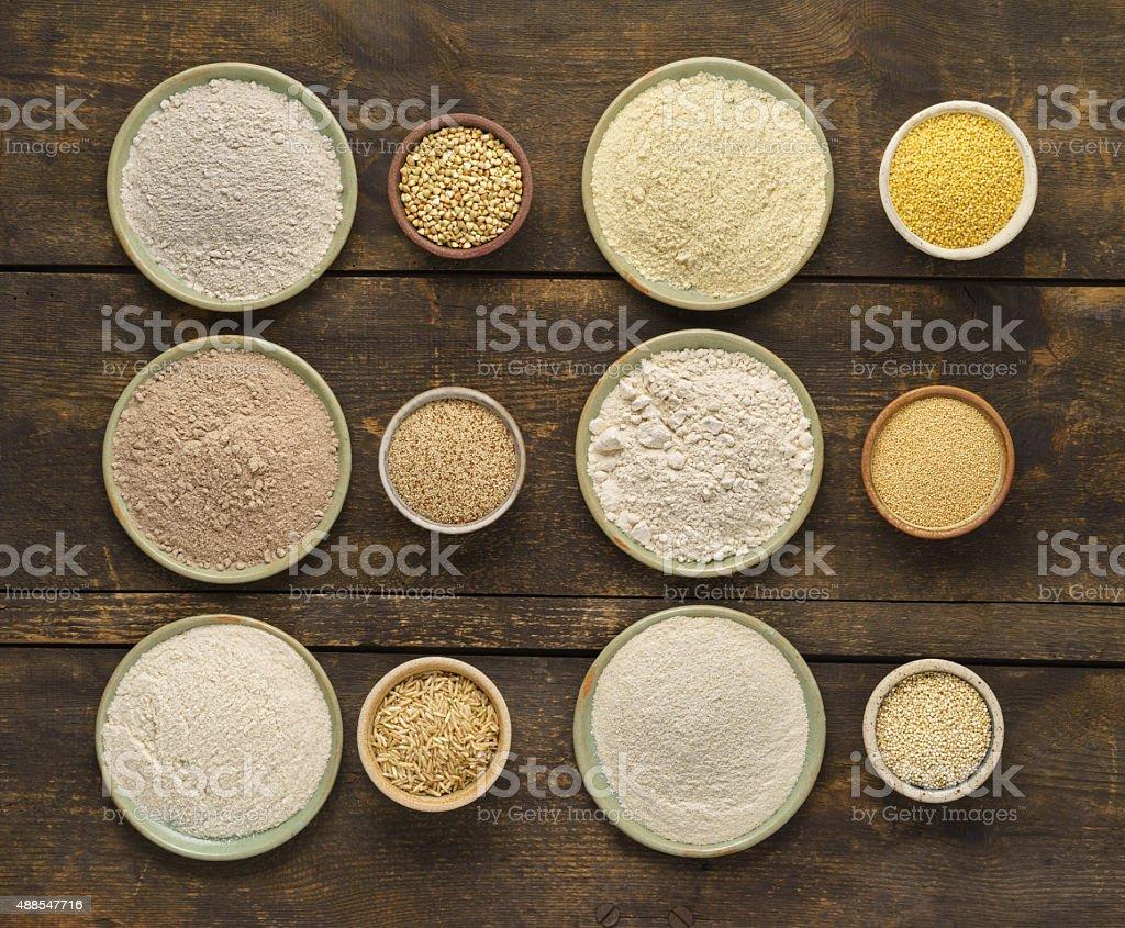 Gluten free flours stock photo