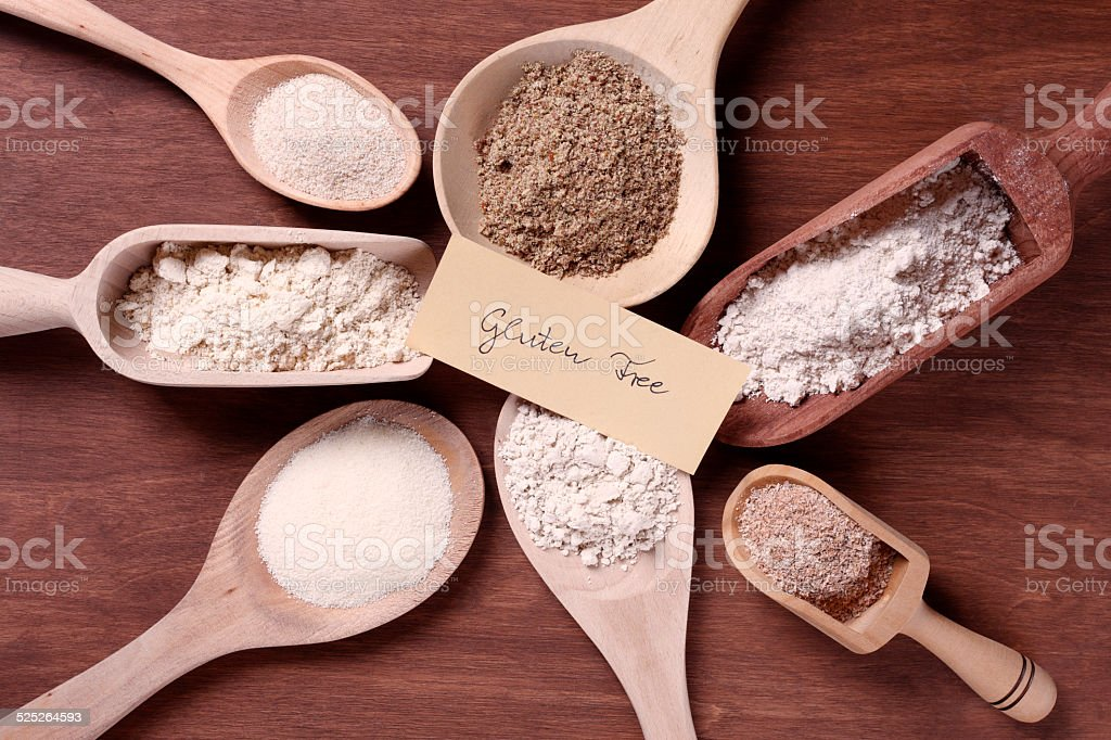 Gluten free flours with label stock photo