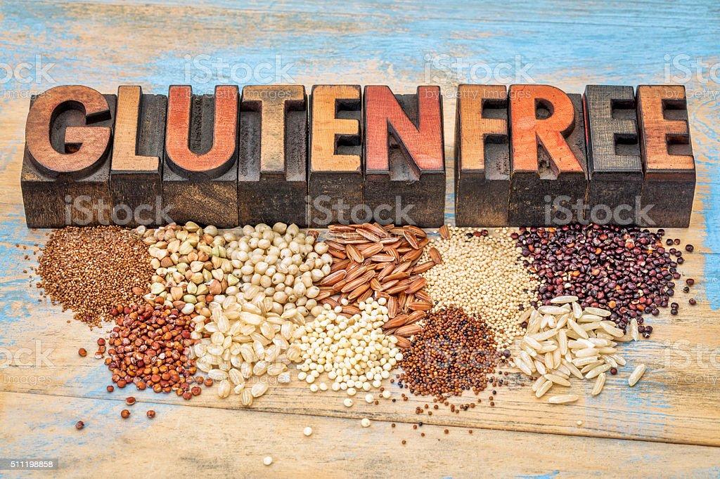 Sin gluten de granos y la tipografía - foto de stock