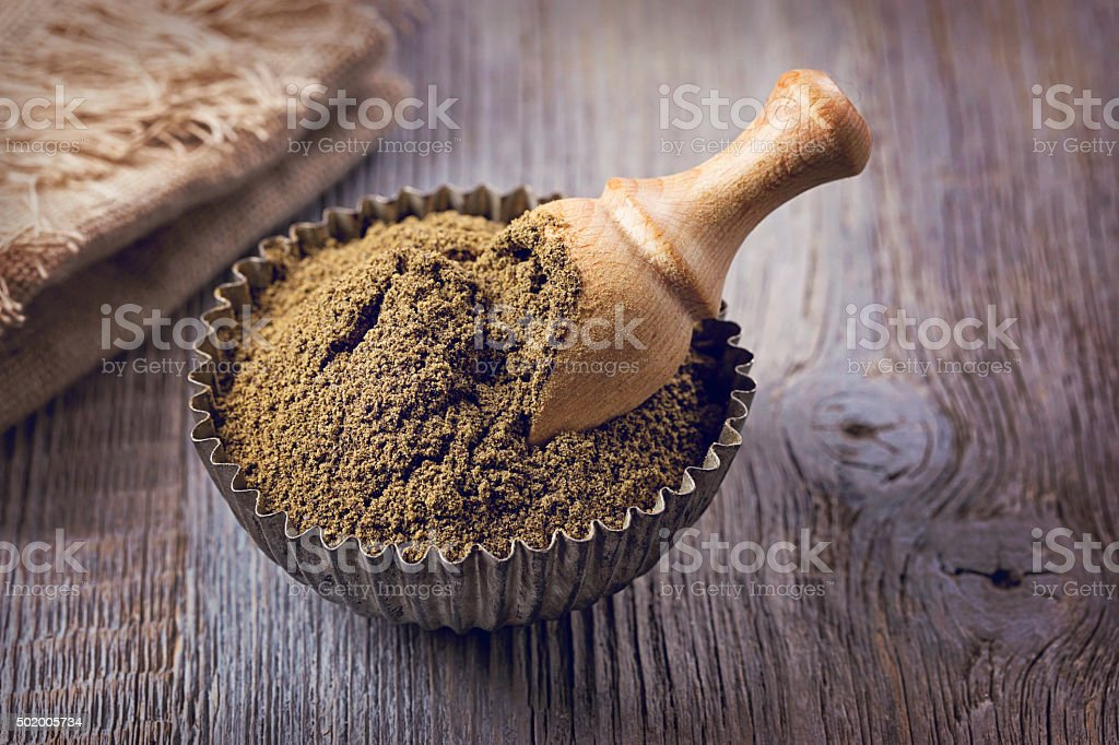 Gluten free hemp flour stock photo
