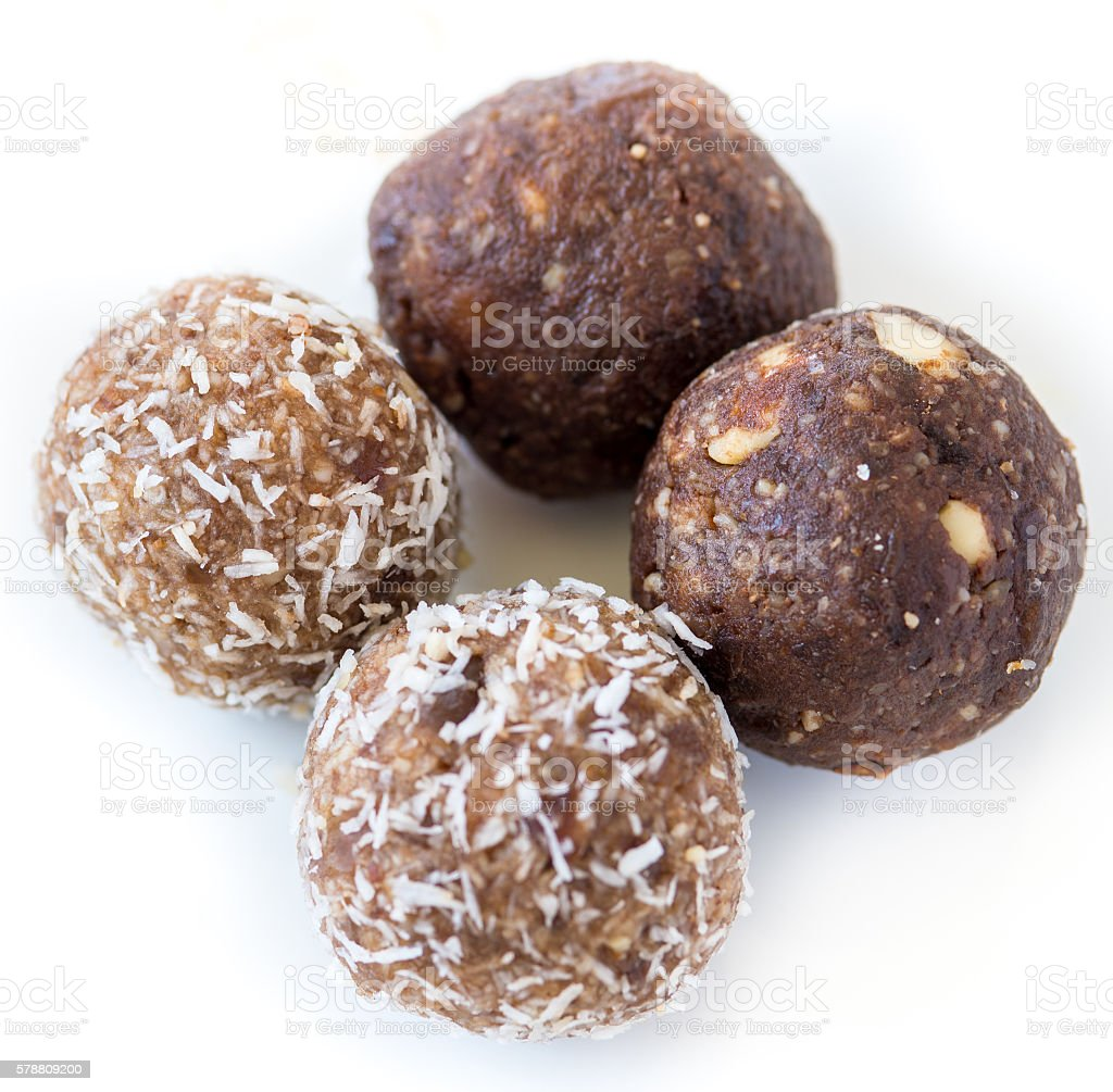 Gluten Free Homemade dates and coconut nutrition energy balls stock photo