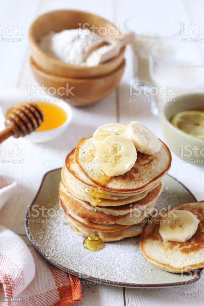 Gluten free: Pancake with rice milk and rice flour stock photo