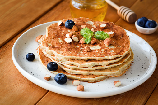 Gluten free pancakes with almonds and blueberries