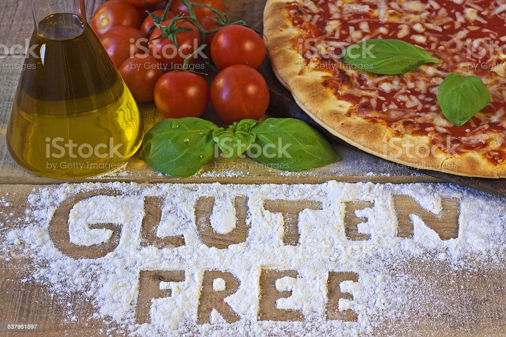 gluten free pizza on background stock photo