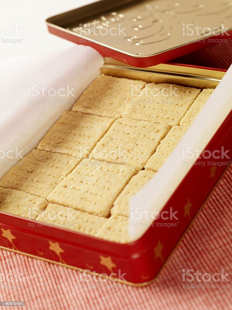 Gluten Free Shortbread Cookies in a Christmas Gift Tin stock photo