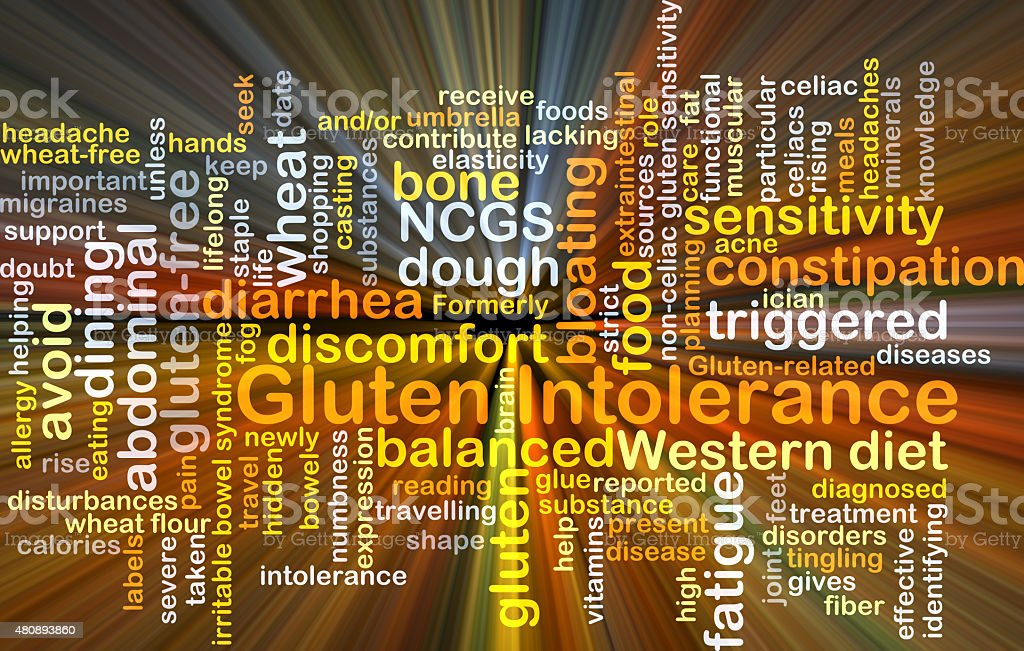 Gluten intolerance background concept glowing stock photo