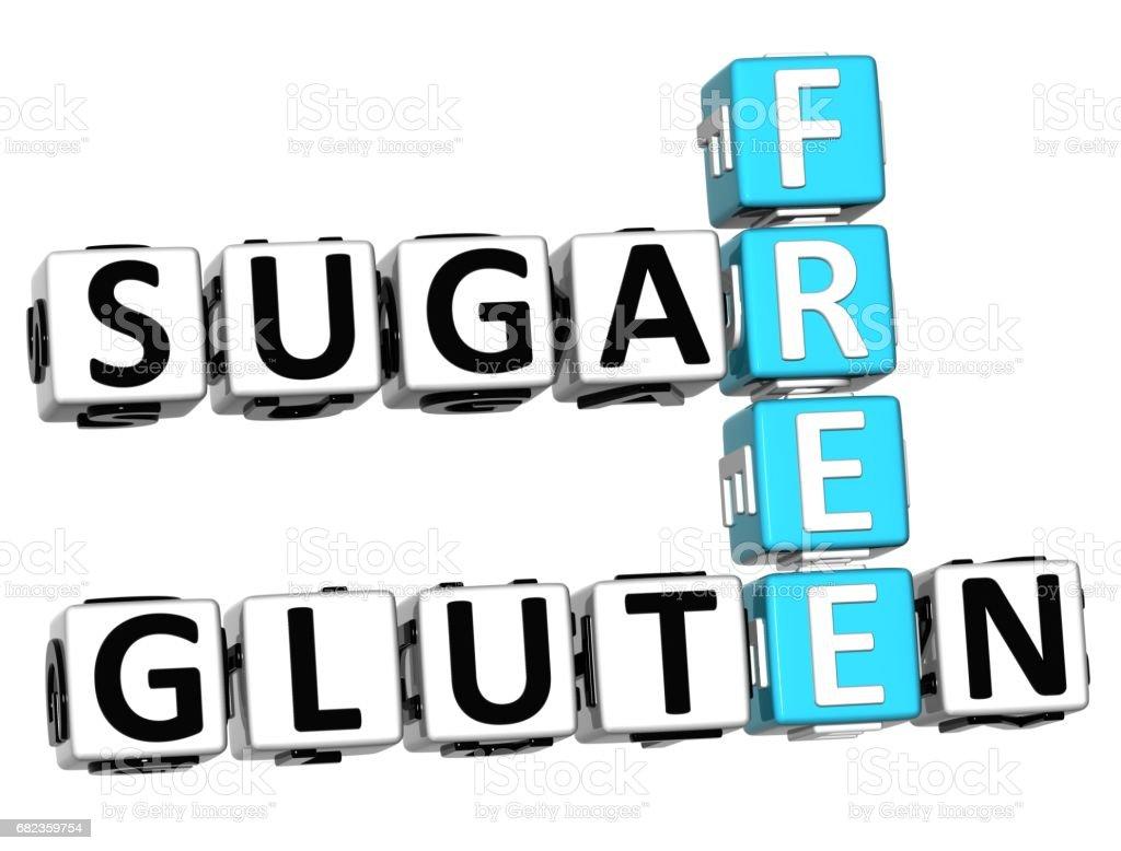 3D Gluten suiker gratis kruiswoordraadsel kubus woorden royalty free stockfoto