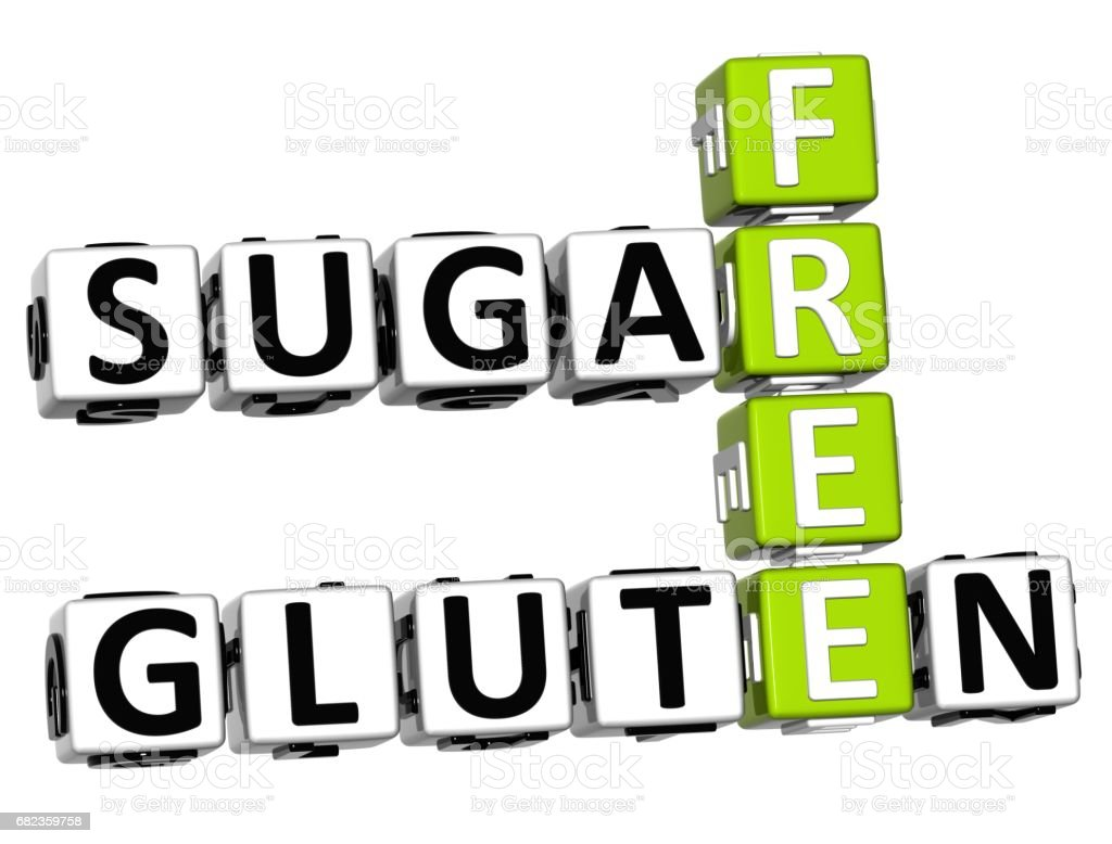 3D Gluten Sugar Free Crossword cube words foto stock royalty-free