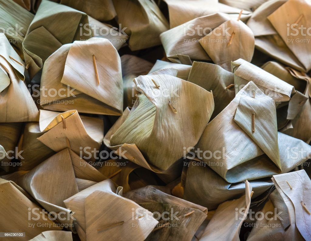 Glutinous Rice Steamed In Dry Banana Leaf Stock Photo - Download Image Now