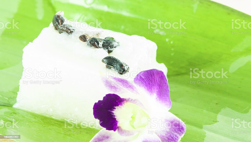 Glutinous rice with coconut milk and topping black bean royalty-free stock photo
