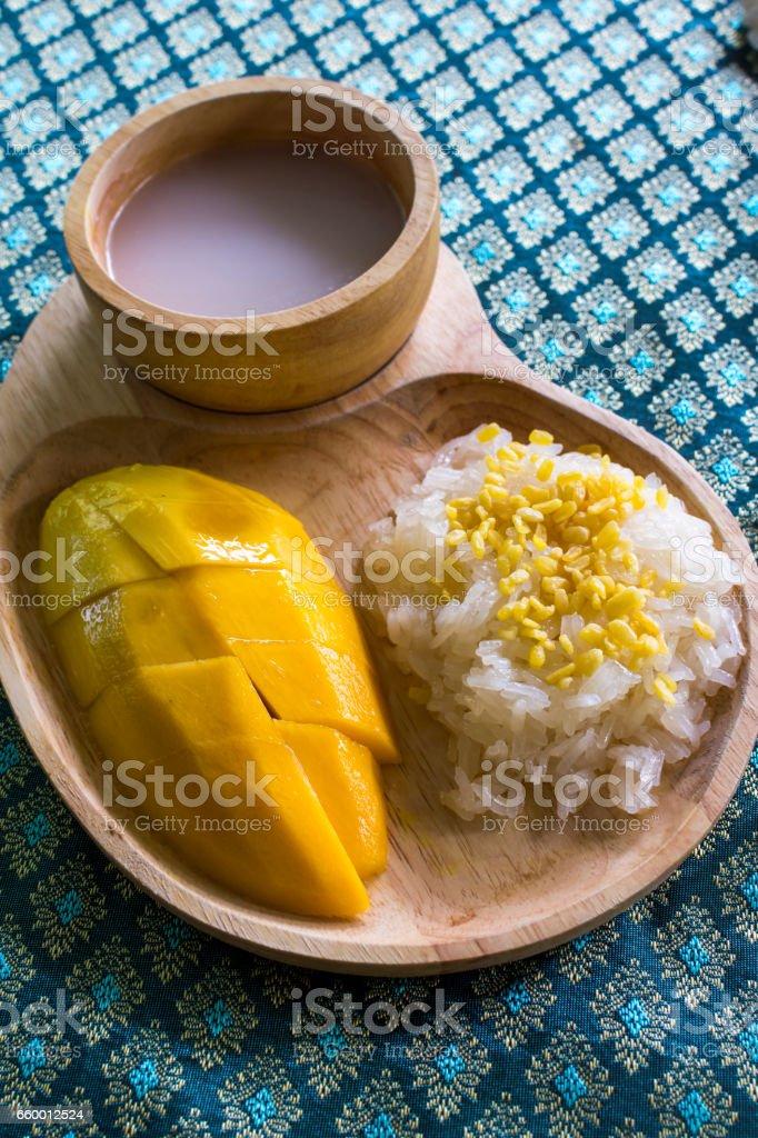 Glutinous Rice with Yellow Mango stock photo