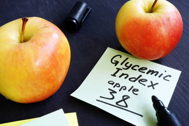 Glycemic index of apple on a piece of paper. stock photo