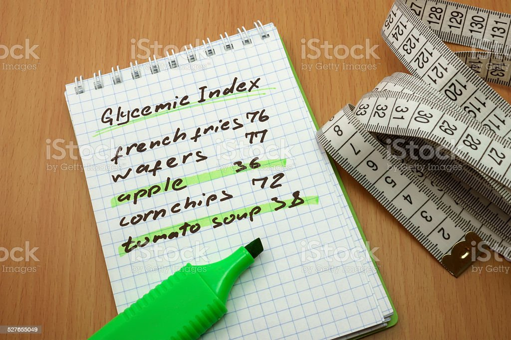 glycemic index stock photo