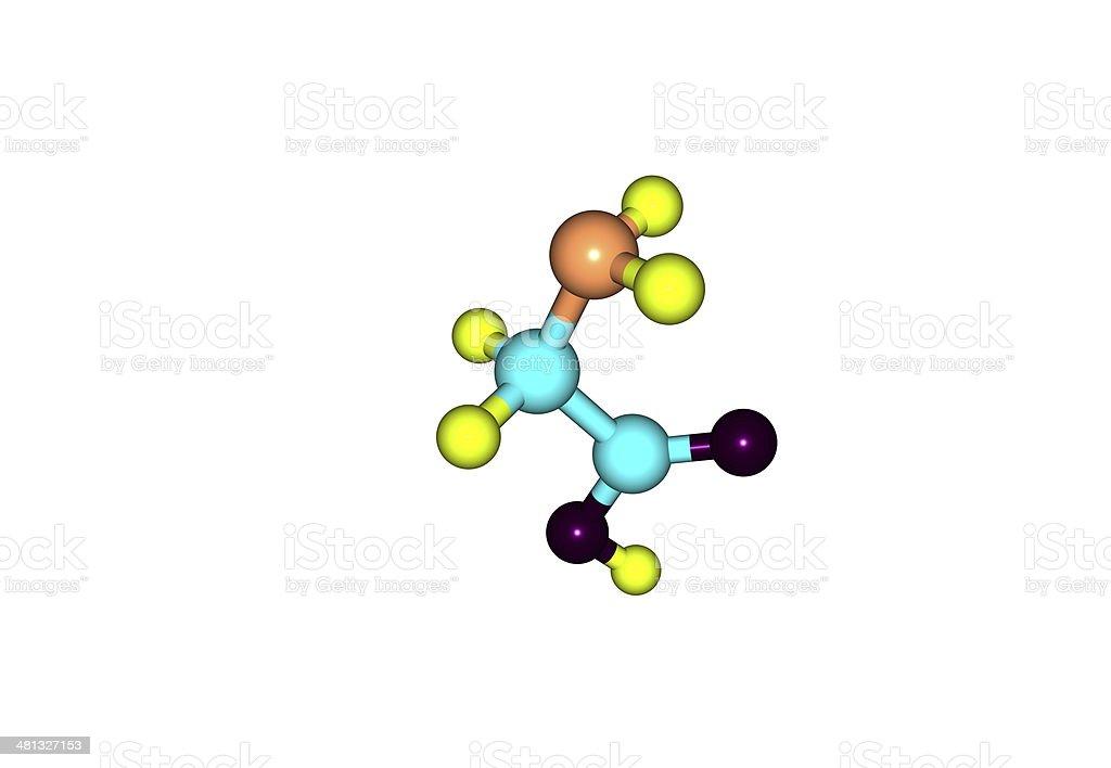 Glicina Estructura Molecular Aislado En Blanco Foto De Stock