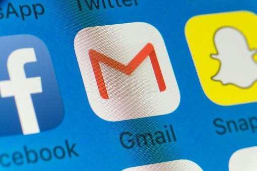 Gmail, Facebook, Snapchat and other cellphone Apps on iPhone screen