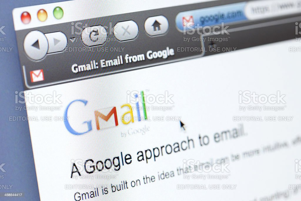 Gmail Webpage royalty-free stock photo