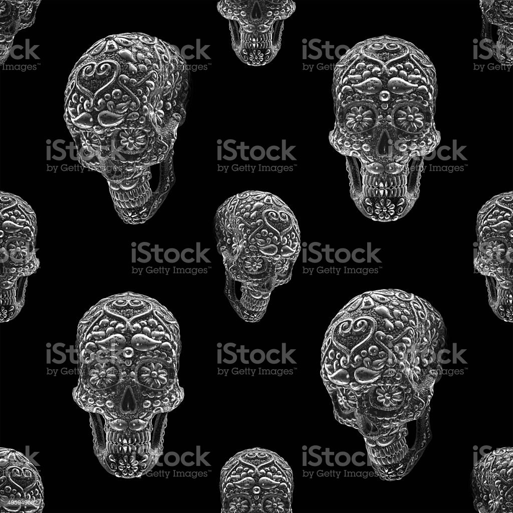 gmexican sugar skull seamless pattern stock photo