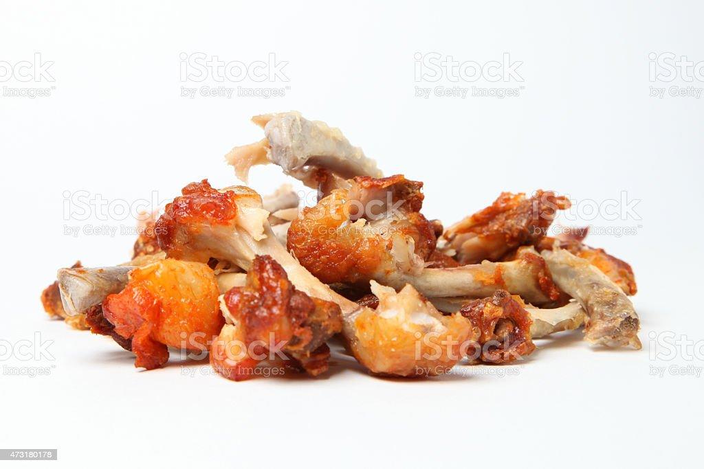 gnawed chicken bones stock photo