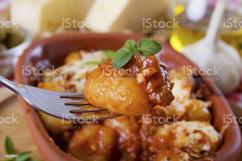Gnocchi di patata, italian potato noodle stock photo